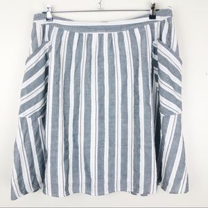 Molly & Isadora Striped A-Line Skirt Lined Pockets